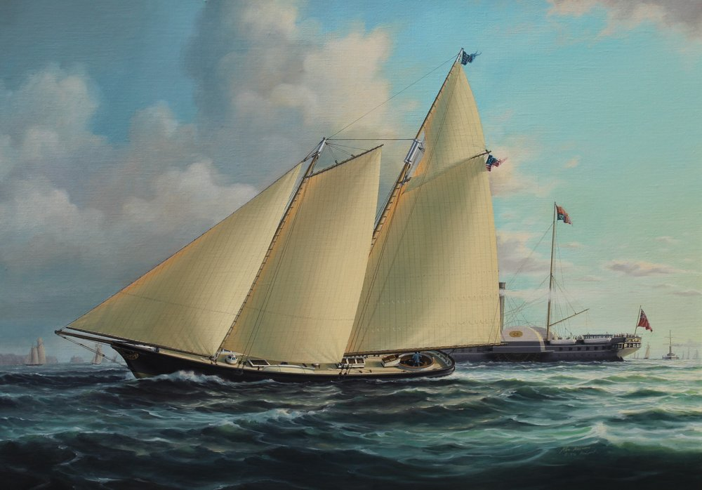 JOHN MECRAY    The Schooner Yacht America    John Cox Stephens, first commodore of the New York Yacht Club commissioned George & James Steers to build  America,  the first yacht to win the America's Cup in 1851.  23 x 32 inches