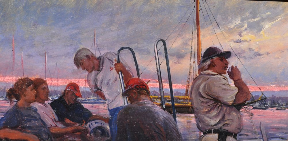 PETER ARGUIMBAU    Launch at Sunset    14 x 24 inches