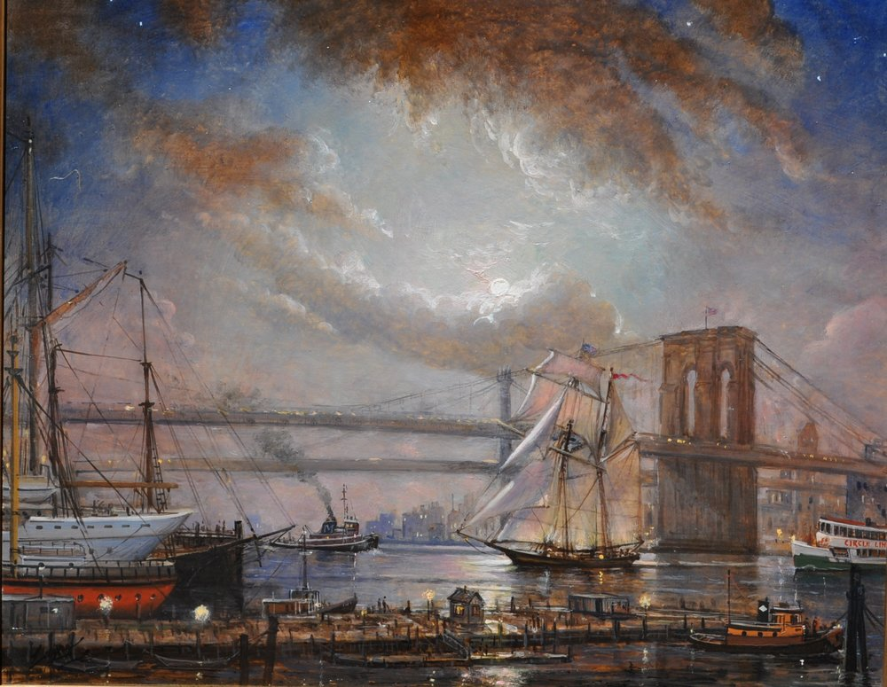 PETER ARGUIMBAU    Brooklyn Bridge by Moonlight    The  Lettie G. Howard  under the full moon at South Street Seaport. Where Fulton Street meets the East River and the Brooklyn Bridge, the South Street Seaport is a historic area in the New York City borough of Manhattan. Here, in 1883, the Brooklyn Bridge's construction was completed after a strenuous 14 years of building. During the startup, chief architect John Roebling faced a deathly accident when a ferry came too close. At that time his son, Washington Roebling, took over the work. Roebling was affected by decompression sickness which led him to be paralyzed. He supervised the project with binoculars from his balcony while his wife, Emily Roebling, managed the conjoining of Brooklyn and Manhattan.  24 x 30 inches