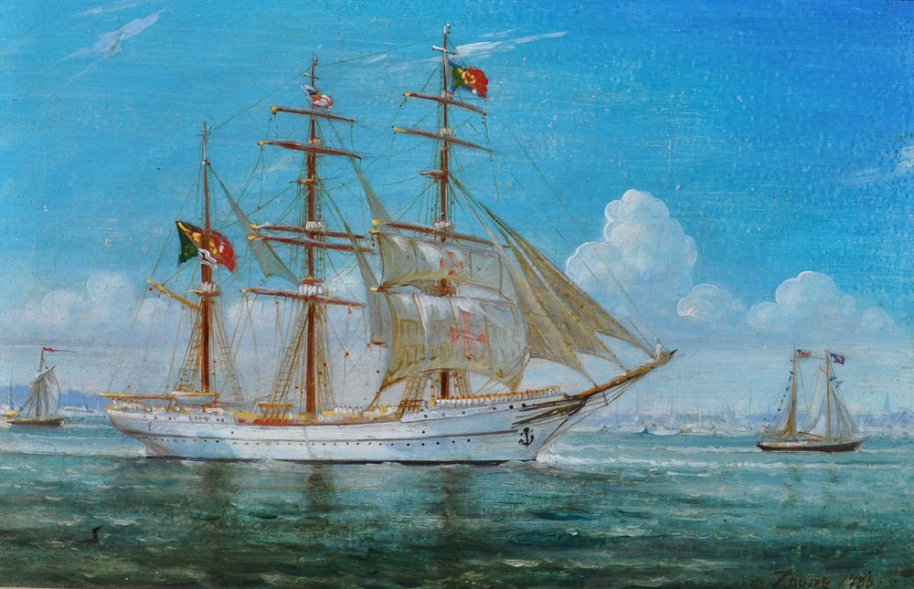 PETER ARGUIMBAU    Sagres II     Sagres II,  launched in 1937, is a tall ship and the official school ship of the Portuguese Navy.  10 x 16 inches