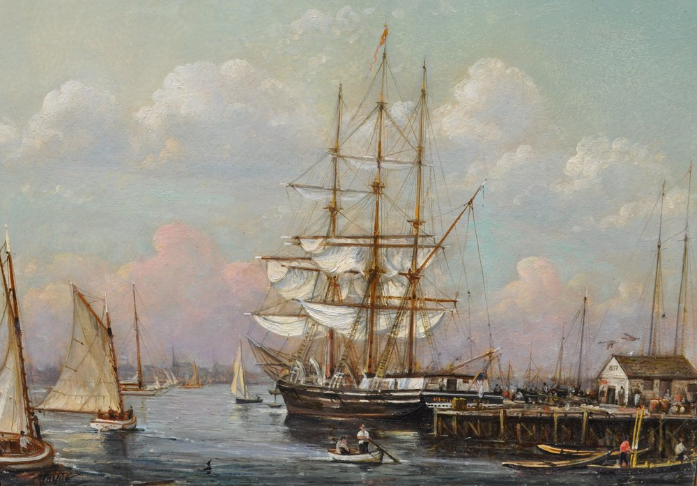 PETER ARGUIMBAU    Morningstar in New Bedford    The whaler  Morningstar  is docked at the wharf in New Bedford, MA.  20 x 24 inches