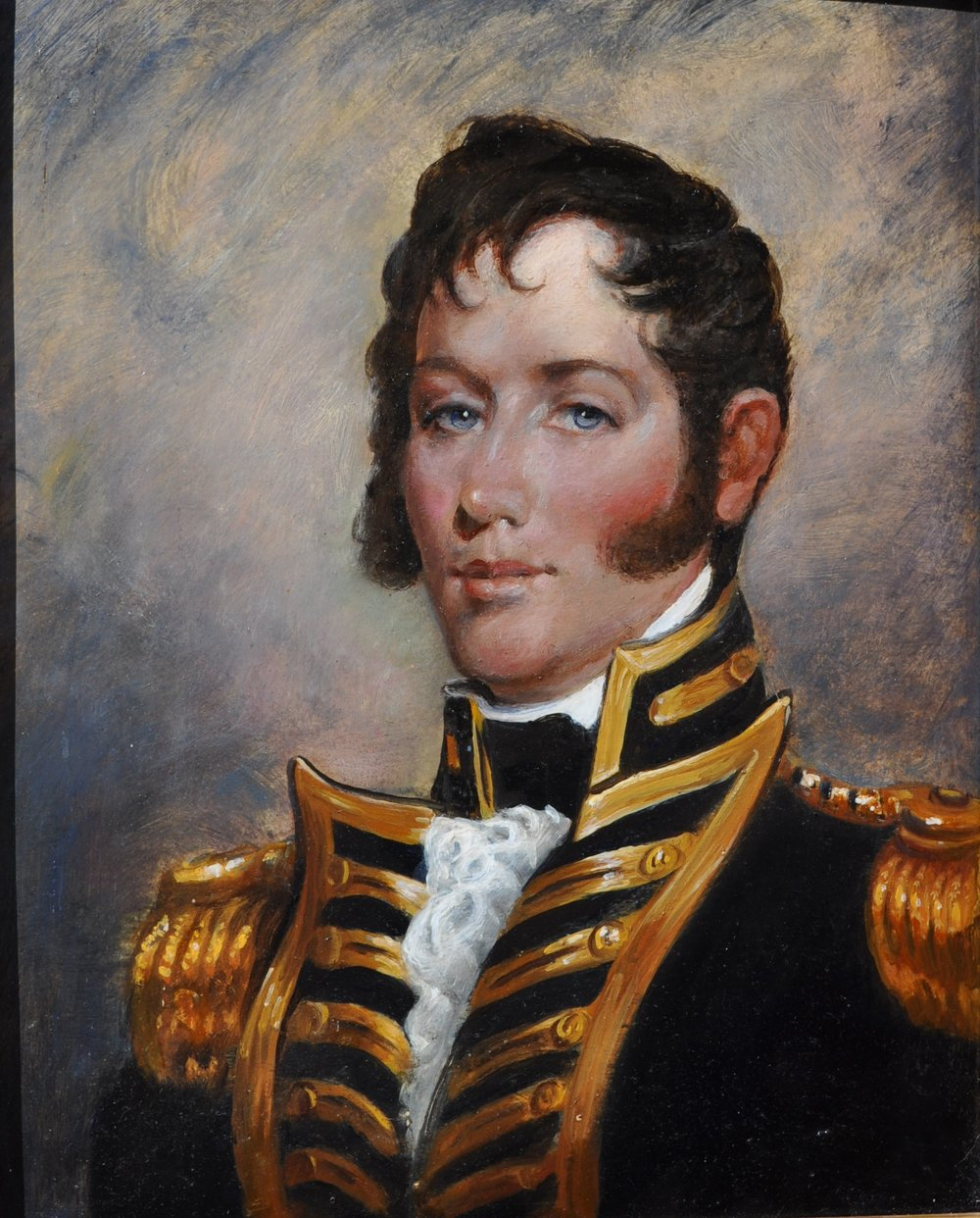 """PETER ARGUIMBAU    Commander: Oliver Hazard Perry    Born in South Kingstown, RI, Commodore Perry was an American Naval Commander. Along with fighting piracy and slave trade, he played a crucial role in the War of 1812. After building a fleet on the coast of Lake Erie, he led American naval forces to victory against a Royal Navy squadron; earning the title """"Hero of Lake Erie."""" Rhode Island's only tall ship, the  Oliver Hazard Perry , is docked at Fort Adams in Newport.  20 x 16 inches"""