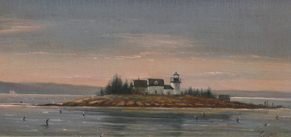 Pumpkin Island Light, Maine    Pumpkin Island Light is a lighthouse located at the northwestern entrance to Eggemoggin Reach on the coast of eastern Maine.  7 x 15 inches