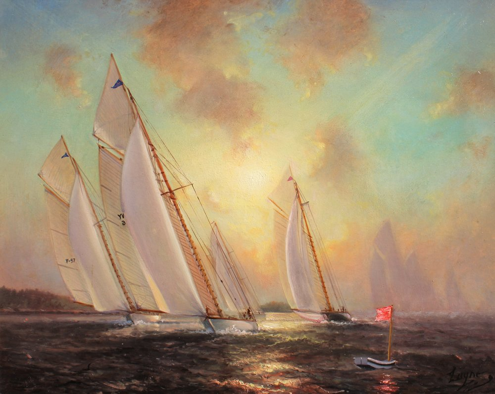 "Spartan Leads Joyant - 28th Eggemoggin Reach Regatta, 24"" x 30"", $25,000 - Peter Arguimbau"