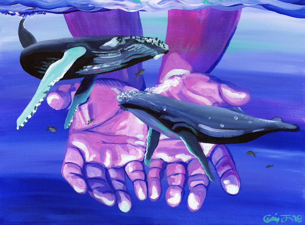 """My piece """"Humpback Herald""""for this year's MAWA group showcase."""
