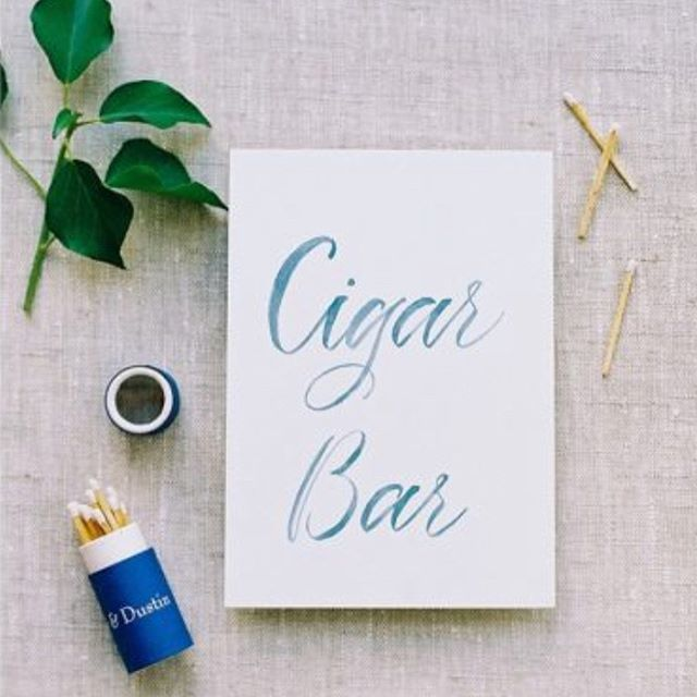 The most chic cigar bar set up from @kaririderevents captured by @bonniesenphotography with calligraphy from @surceecalligraphy.