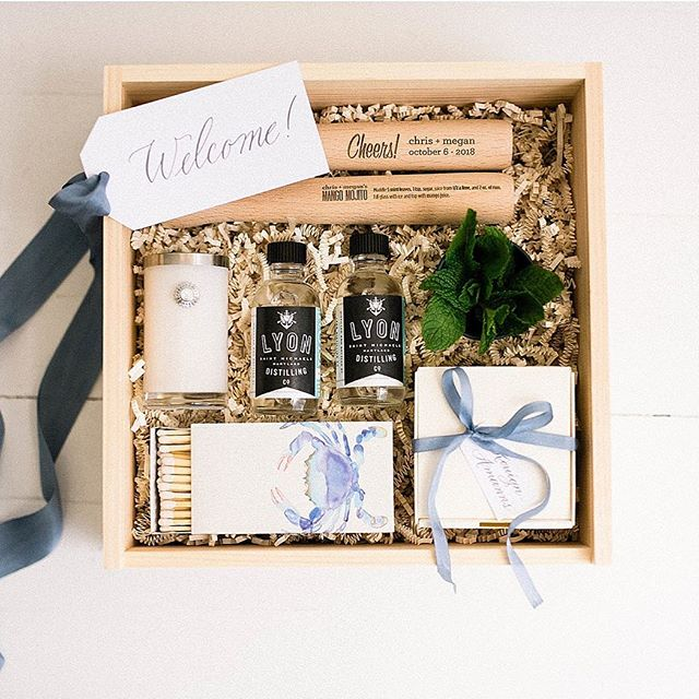 Eastern Shore in a box.  Photography | @reneehphoto  Planning & Design | @kaririderevents Calligraphy Tags | @surceecalligraphy Custom Crab Mallets | @brinehound Sweets | @chefstevenanthony  Rum | @lyondistilling Candle & Matches | @dwellinganddesign