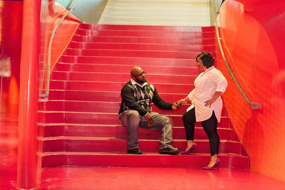 Rakisha + Jason_Seattle Public Library Engagement_Downtown Seattle Engagement_Urban Engagement_Kelsey Lane Photography_Seattle Wedding Photographer_Seattle Engagement Photographer_11