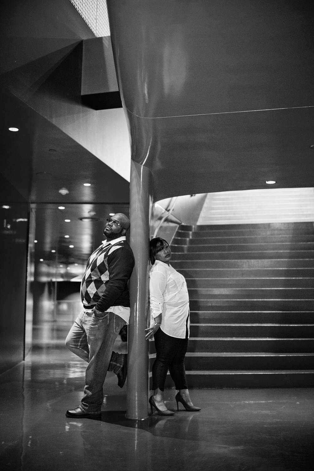 Rakisha + Jason_Seattle Public Library Engagement_Downtown Seattle Engagement_Urban Engagement_Kelsey Lane Photography_Seattle Wedding Photographer_Seattle Engagement Photographer_12
