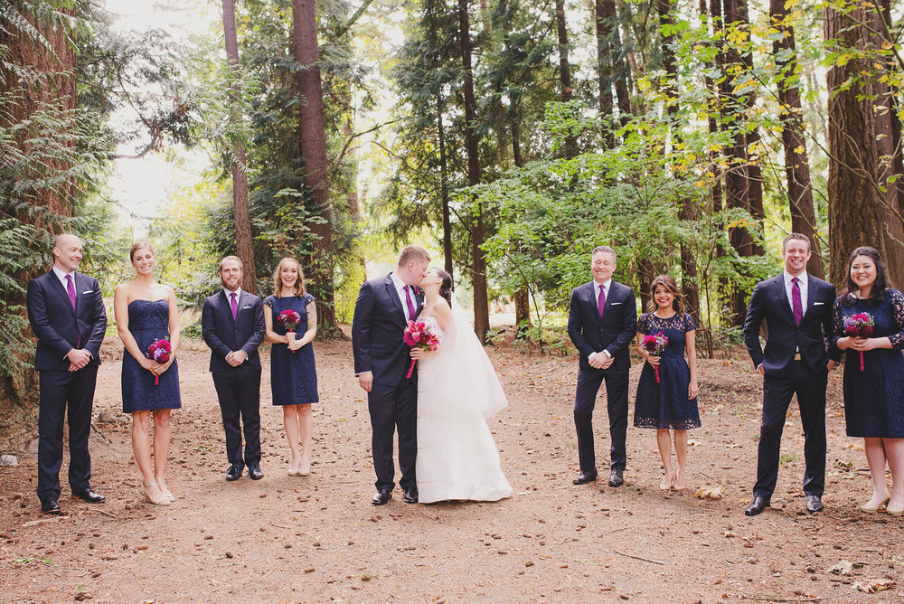 Edmunds Yacht Club Wedding_Montana Wedding Photographer_Missoula Wedding Photographer_Kelsey Lane Photography_kiss with bridal party