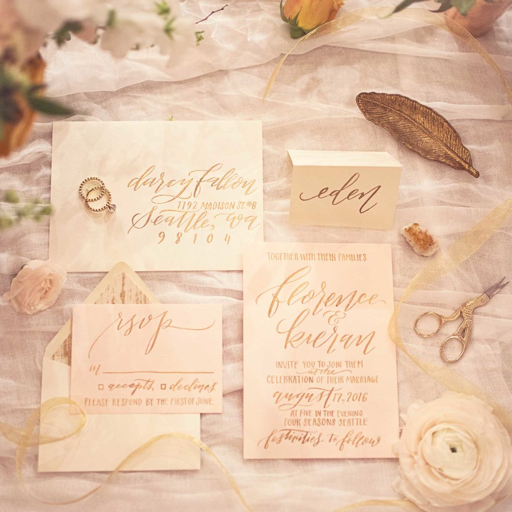 Blush Wedding, Elegant Wedding, Pink Wedding, Montana Wedding Photographer, gold calligraphy invitation suite