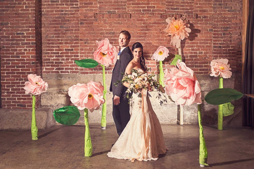 Blush Wedding, Elegant Wedding, Pink Wedding, Montana Wedding Photographer, big paper flower wedding