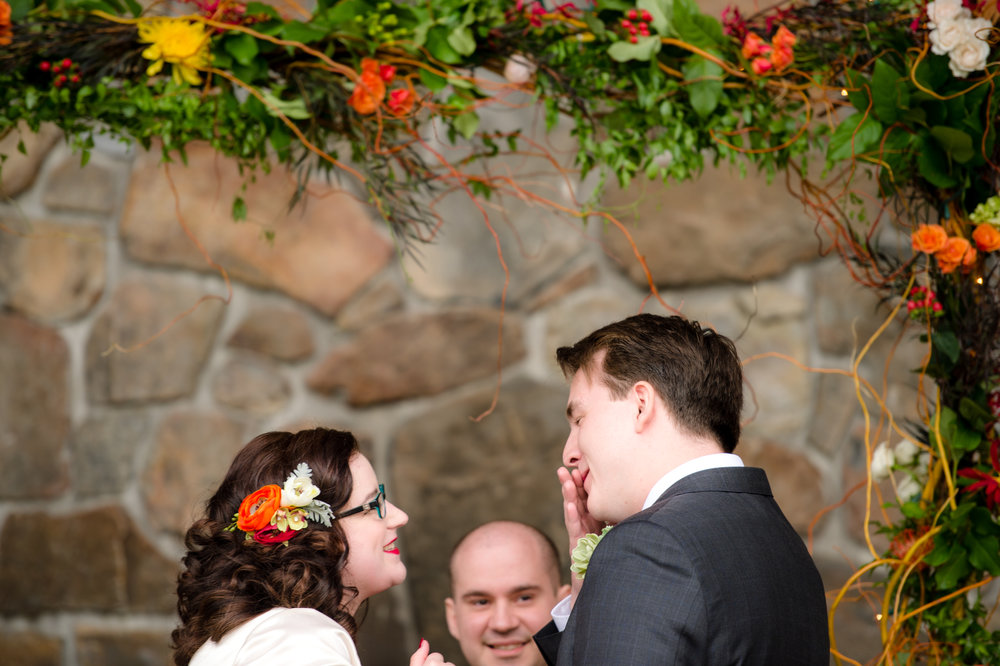 Rini + Matt Wedding_Tree Farm Wedding_Wedding at the Lodge_Kelsey Lane Photography_Winter Wedding_winter wedding ceremony