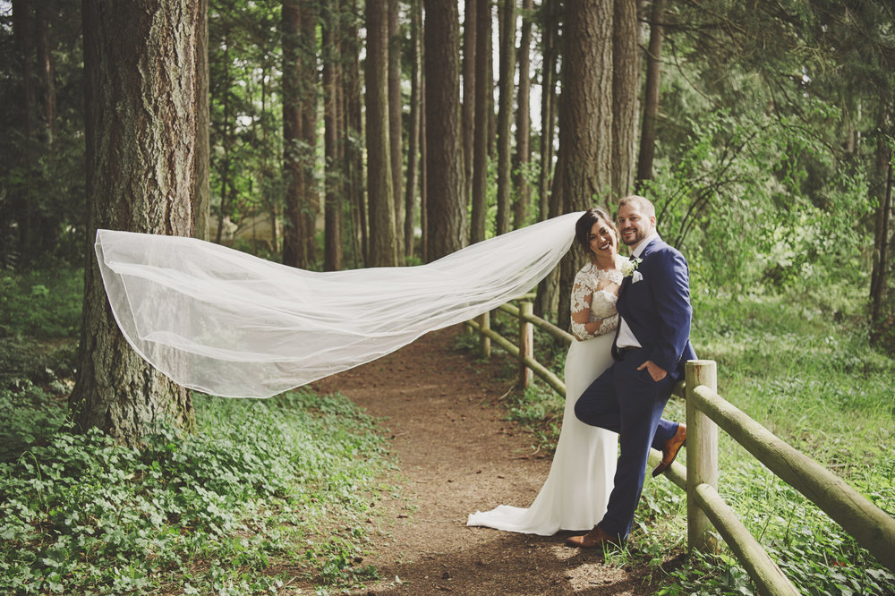 Woodsy Wedding_Kitsap Memorial State Park Wedding_Kelsey Lane Photography_bride with veil