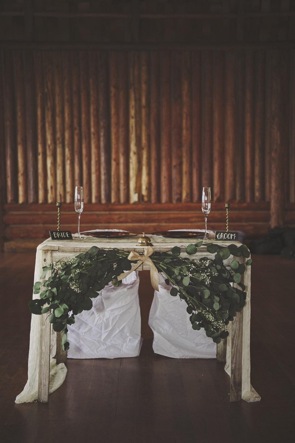 Woodsy Wedding_Kitsap Memorial State Park Wedding_Kelsey Lane Photography_bride and groom table