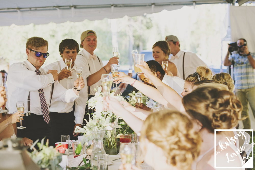 Rustic Montana Wedding_Missoula Wedding Photographer_Grey Wolf Ranch_Kelsey Lane Photography_Wedding Reception_Wedding Toasts_Cheers