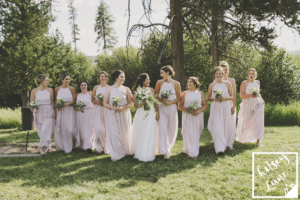 Rustic Montana Wedding_Soft Montana Wedding_Montana Wedding Photographer_Missoula Wedding Photographer_Grey Wolf Ranch_Kelsey Lane Photography_Pink Bridesmaids_Laughing Bridesmaids