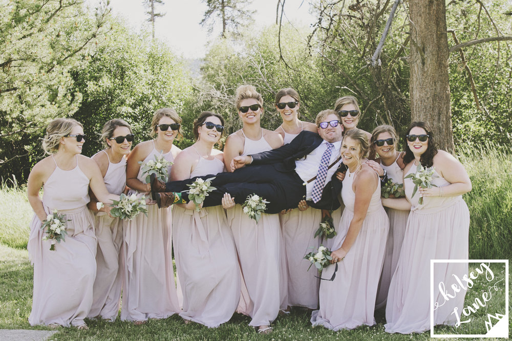 Rustic Montana Wedding_Soft Montana Wedding_Montana Wedding Photographer_Missoula Wedding Photographer_Grey Wolf Ranch_Kelsey Lane Photography_funny bridesmaids