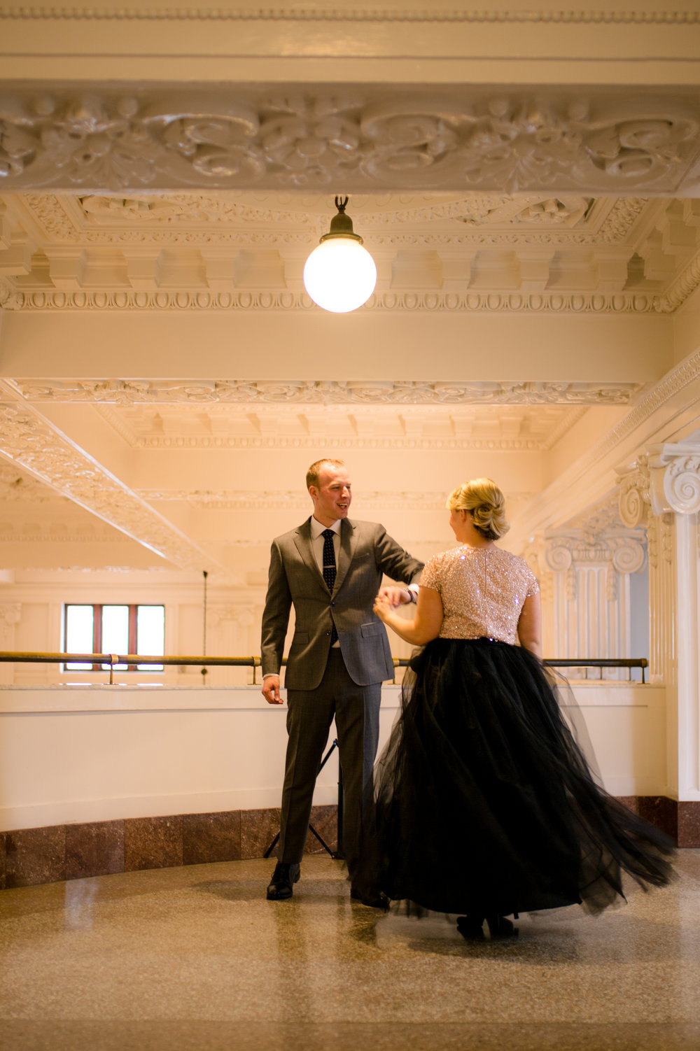 Ballroom Engagement_Urban Engagement_Tulle Skirt Engagement_Montana Wedding Photographer_Kelsey Lane Photography