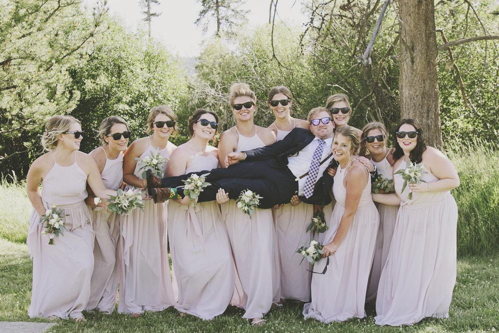 Montana Wedding Photographer_Seeley Lake Wedding_Blush Pink Montana Wedding_Kelsey Lane Photography_funny bridesmaids with groom