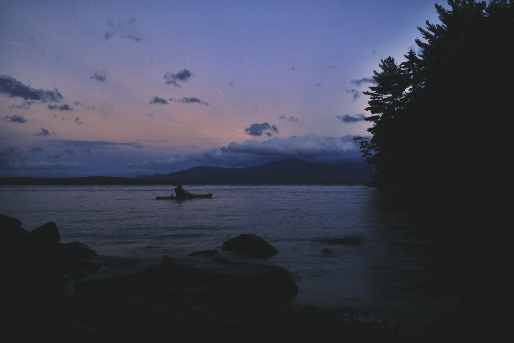 Grey Wolf takes a solo kayak out at dusk.