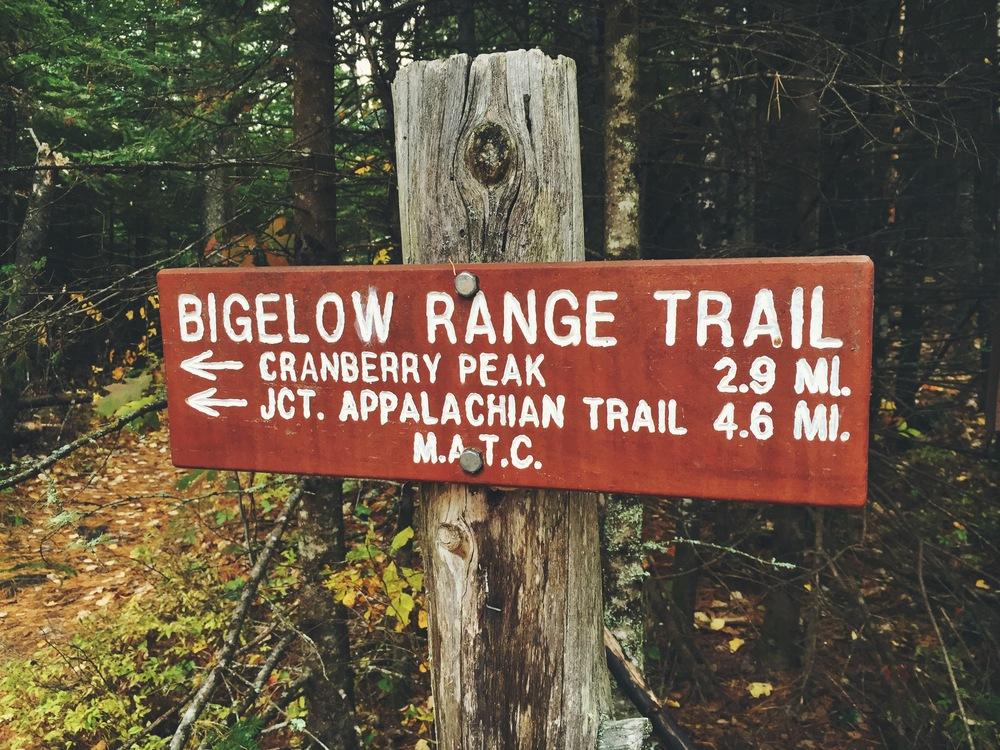 Bigelow Range Trailhead signpost.