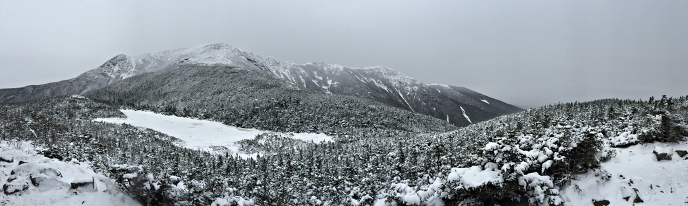 Panorama of Franconia Ridge from Greenleaf Hut.