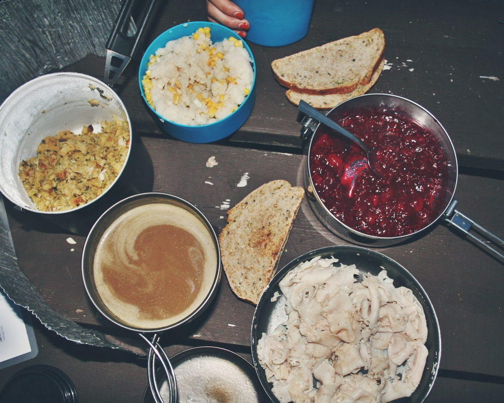 Our backpacker's Thanksgiving day spread!