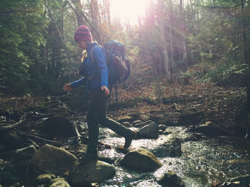 This hike has many stream crossings - Moose hops from rock to rock