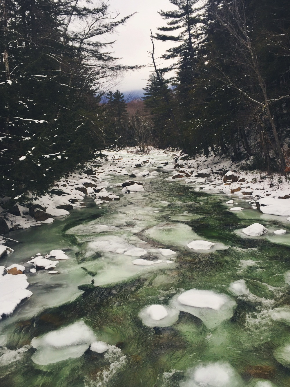 The chilled green waters of the Pemigewasset River