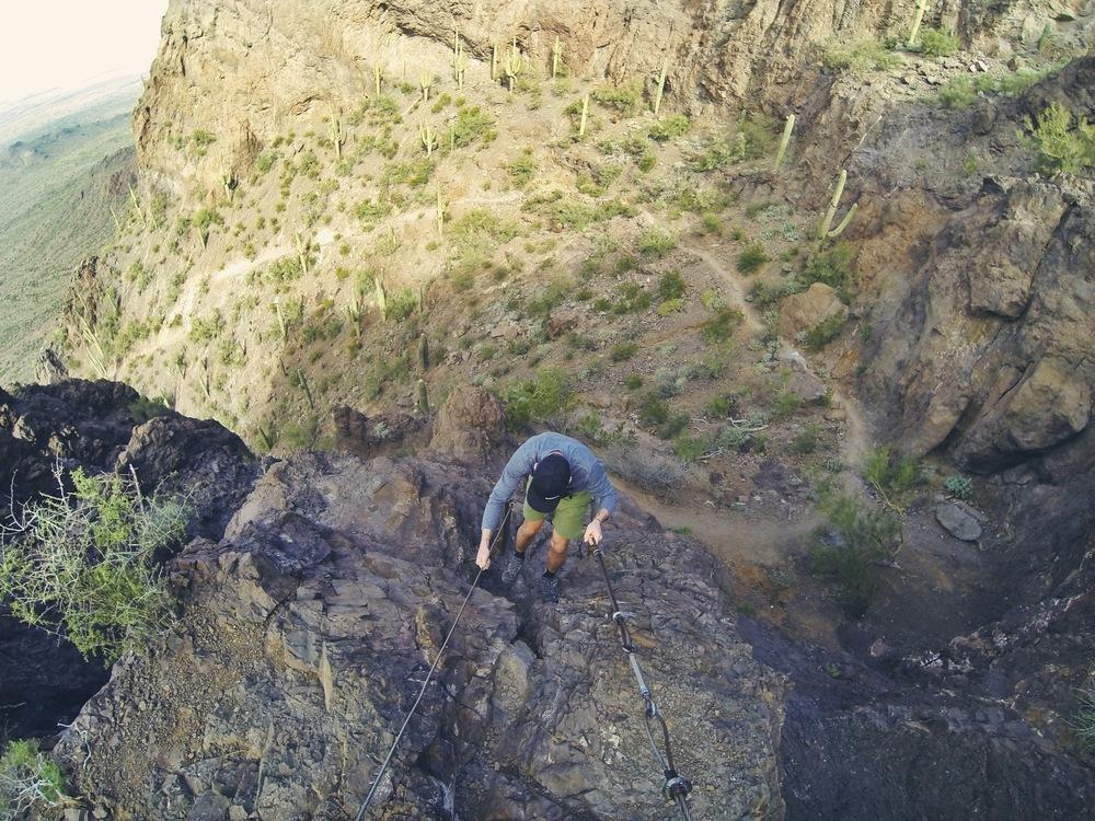 Teton makes his way up the mountainside.
