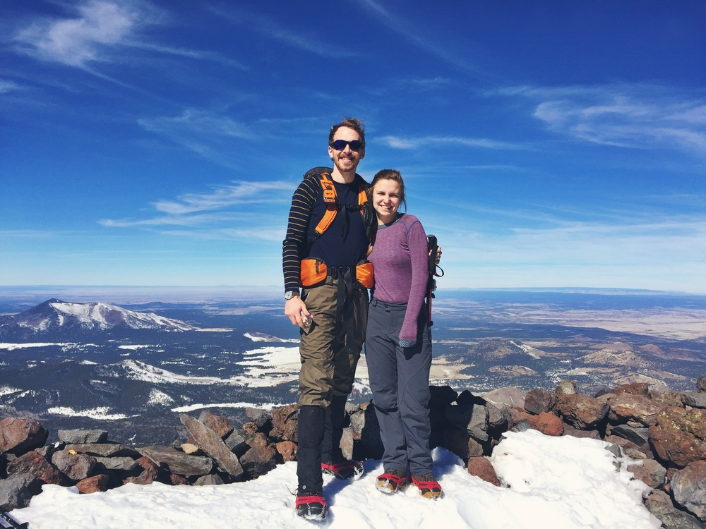 The Wild Outsiders on the top of Humphreys Peak, the highest point in Arizona.