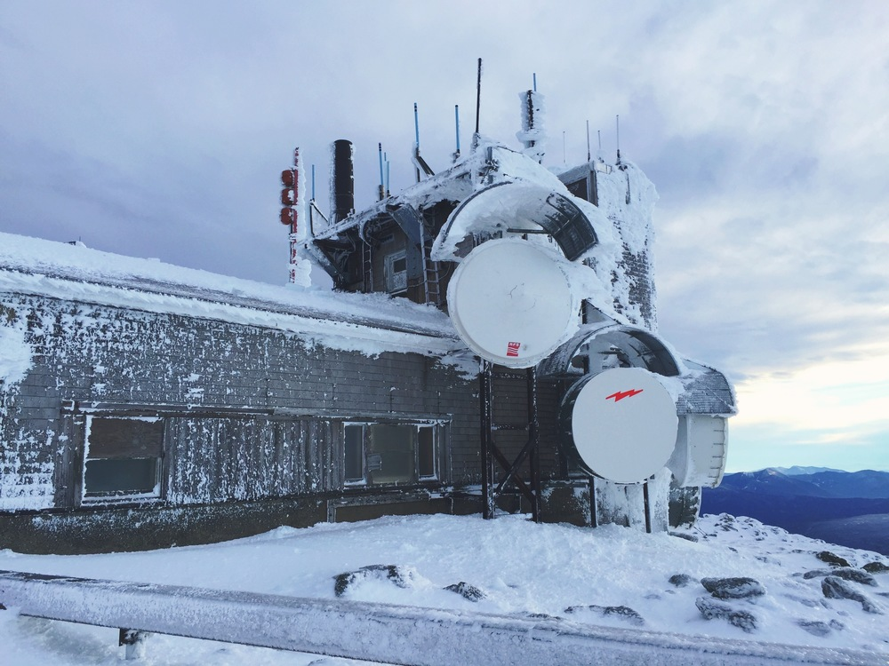The Mt. Washington Observatory - the mental half-way point - its all downhill from here