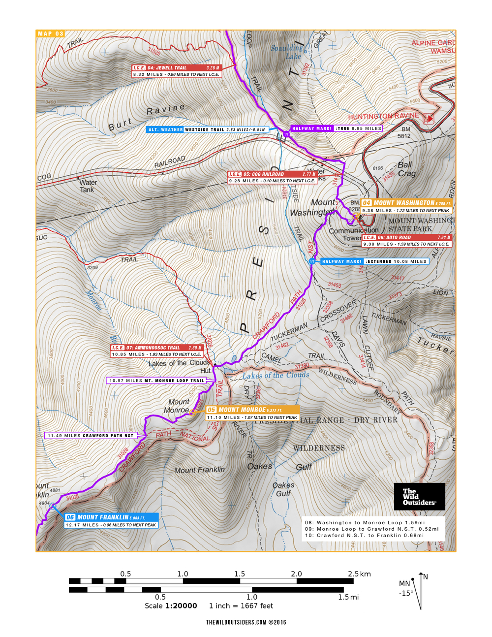 Jewell Trail Mt Washington Map.Winter Presidential Traverse Day Hike The Wild Outsiders