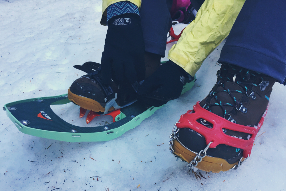 Moose straps on her snowshoes - swapping out traction devices was the name of the game on this hike