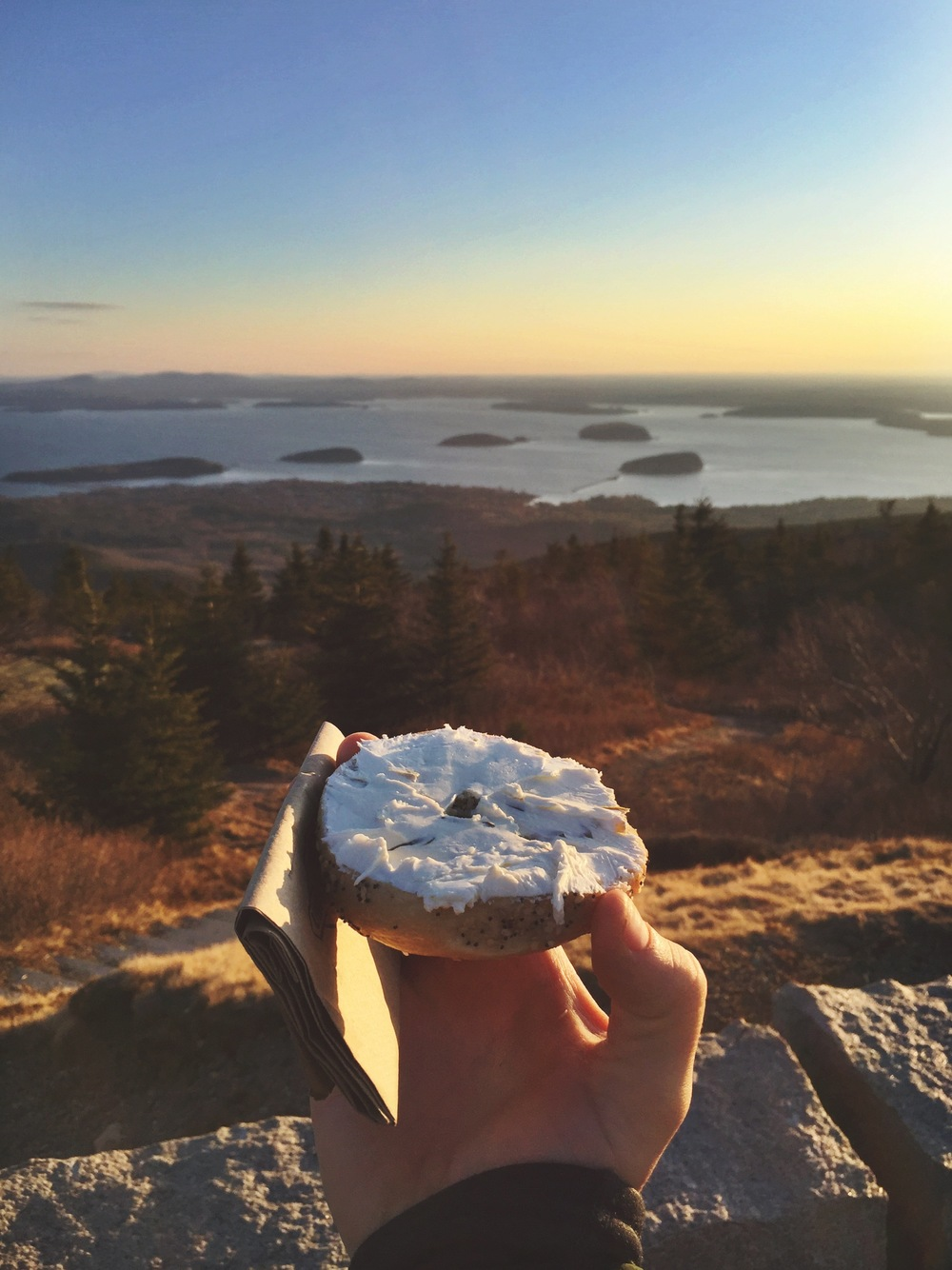 Bagels and cream cheese with a side of incredible view
