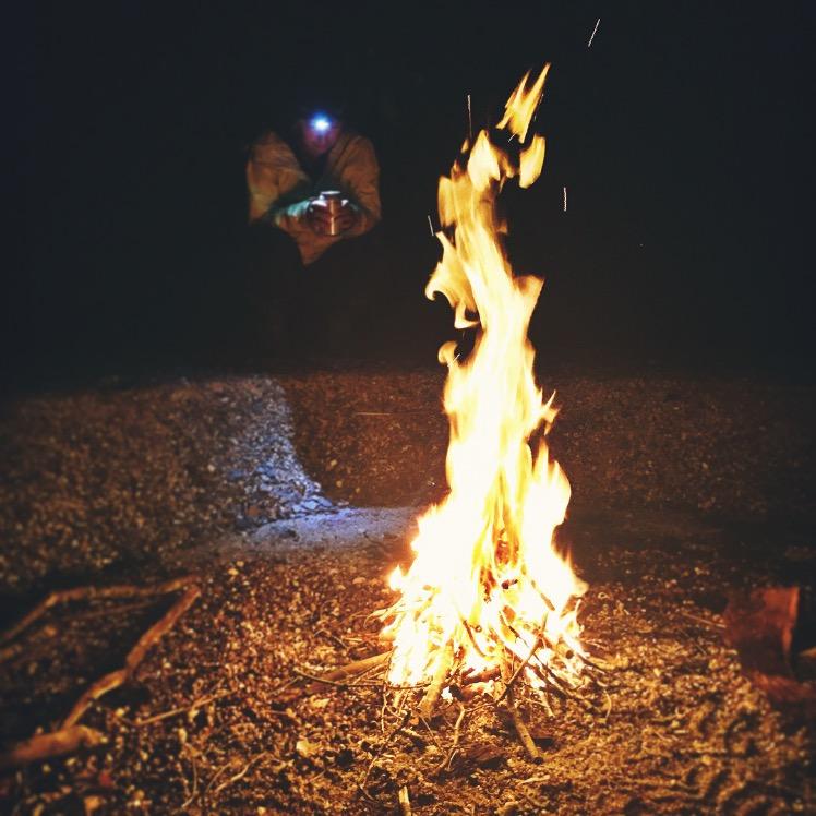 Beachside camp fire