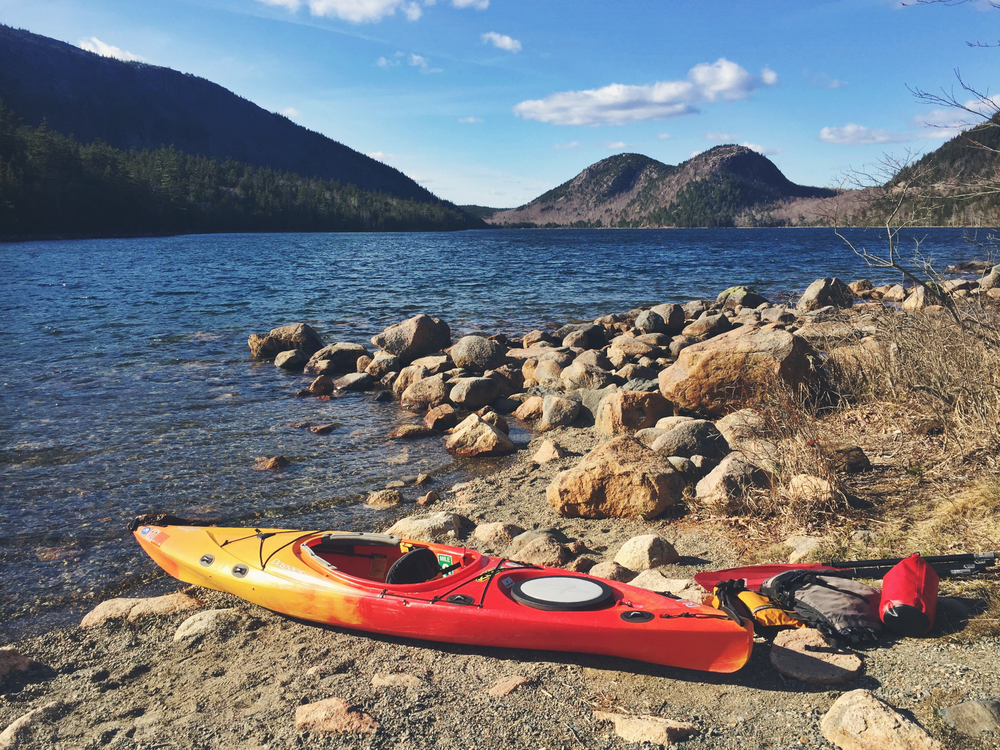Prepping for launch on the shores of Jordan Pond