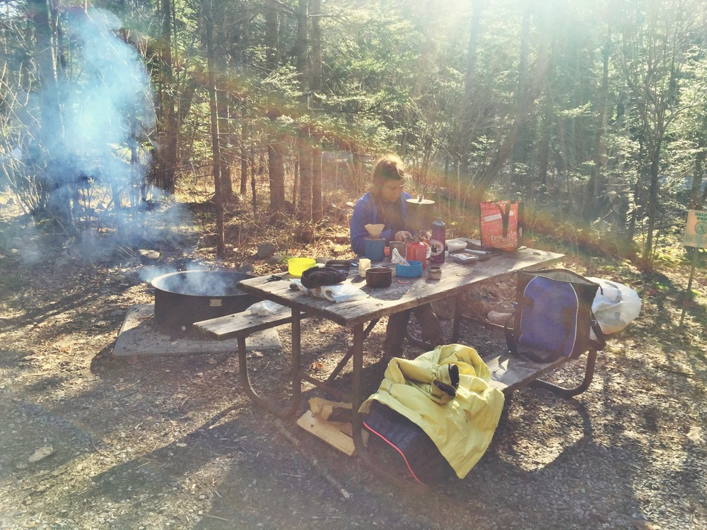 Moose preps dinner at our Blackwoods campsite.