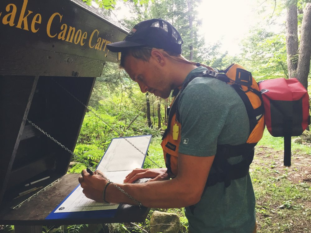 Teton signs into the NFCT logbook.