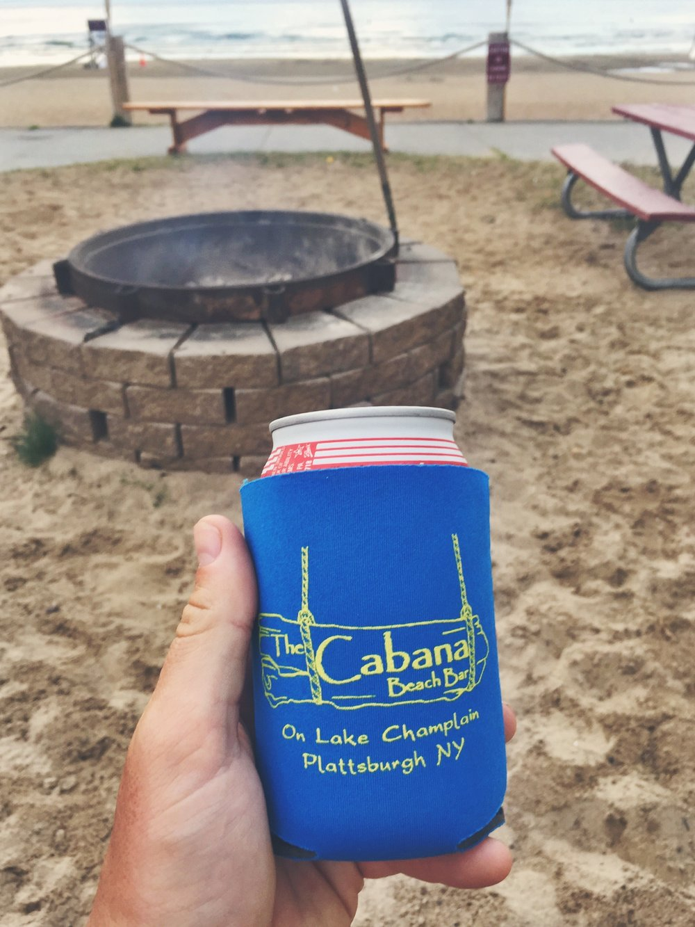 Enjoying a beer at the state beach Cabana
