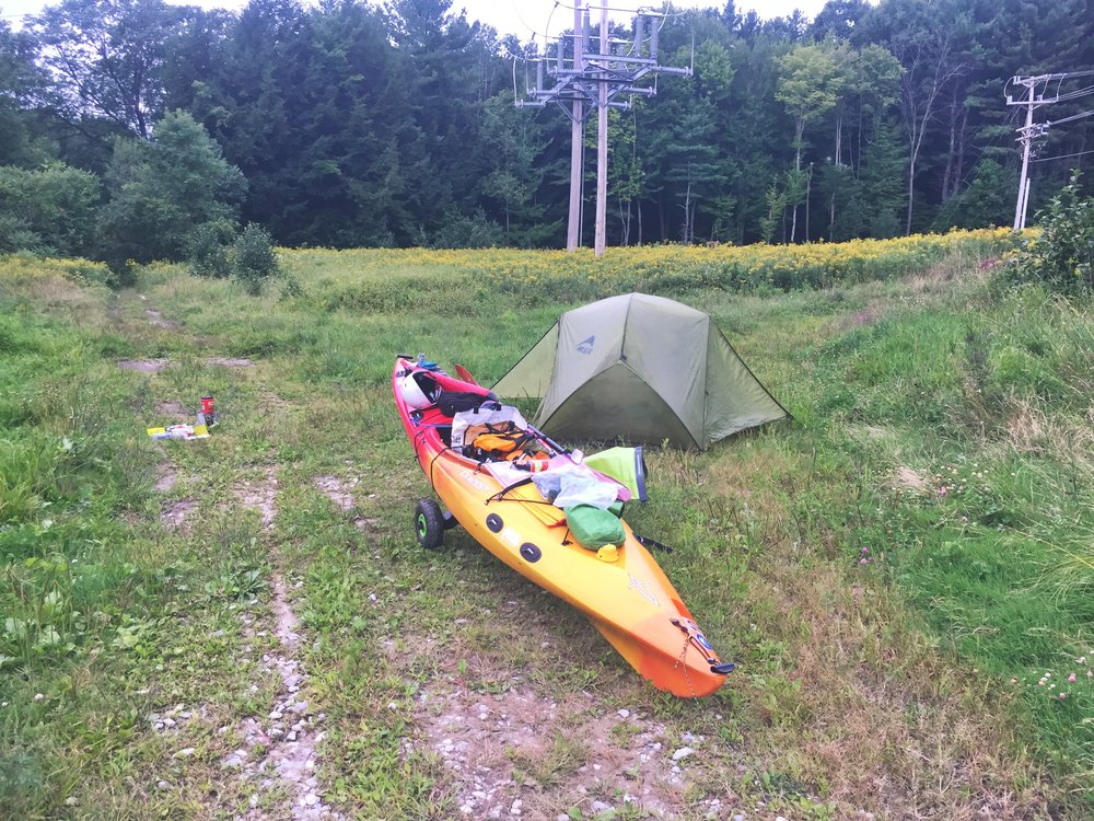 Camped along the power lines on the Highgate Falls Portage
