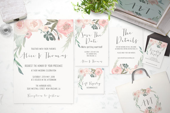 TheSpringRabbit   floral Customizable Wedding Invites