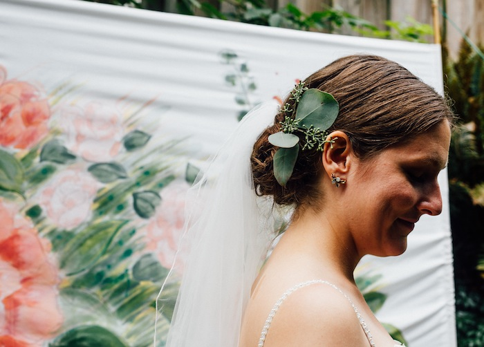 bridal updo with eucalyptus