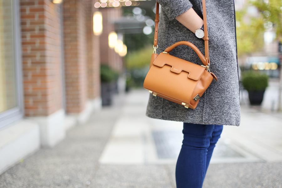 minimalist leather luxury bag.