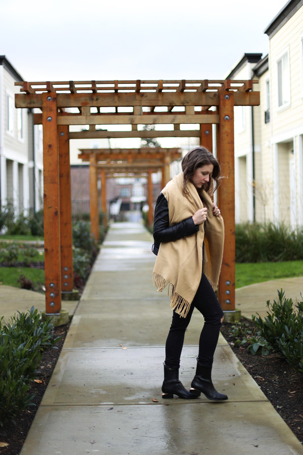 Love this oversized tan blanket scarf.