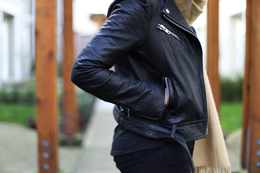 Pebbled leather black moto jacket.