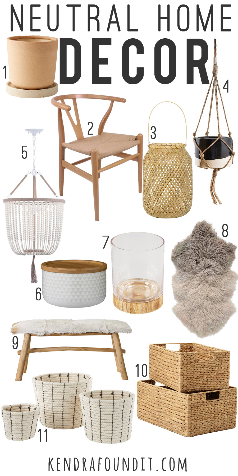 Neutral home decor essentials: sheepskin rug, hanging planters, rope baskets, and bleached washed out wood.