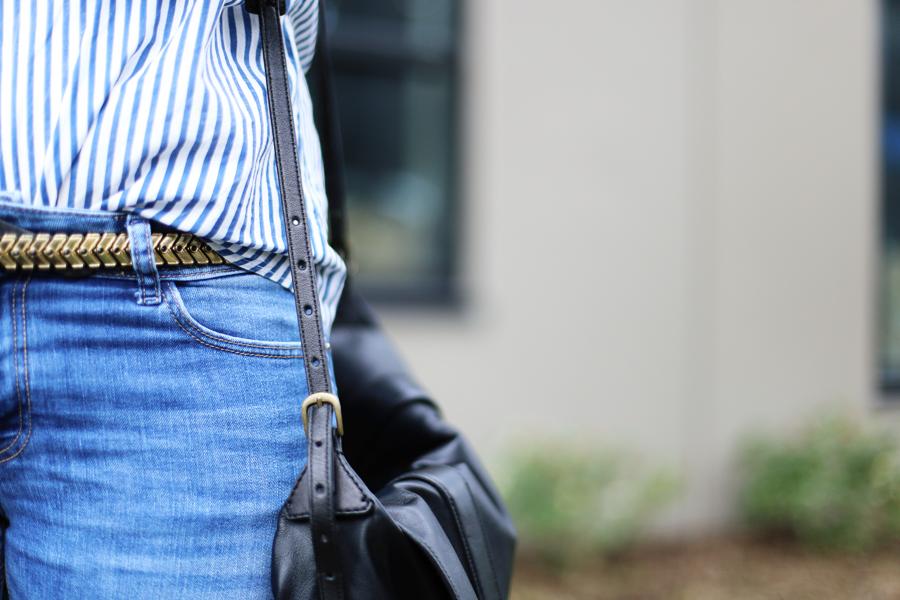 Zara metal chevron belt and skinny jeans.