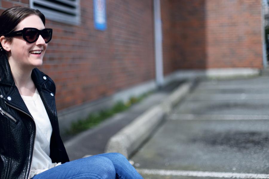 Black Balenciaga sunglasses.